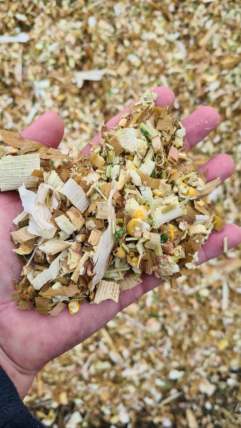 zu trockene gehächselte Maisprobe